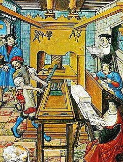 Picture Of Bookprinting In The 15th Century