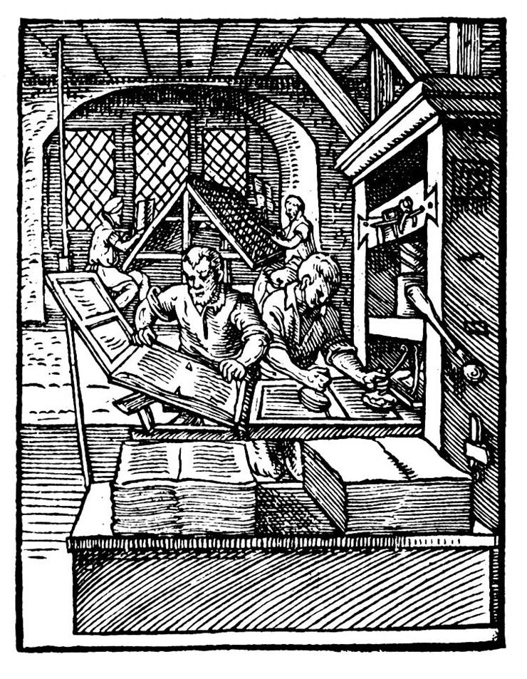 Picture Of Early Wooden Printing Press In 1568